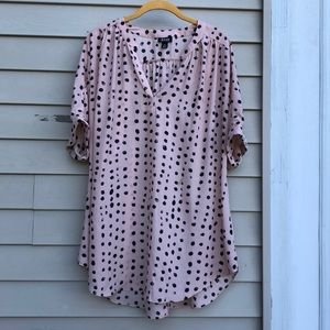 Pale Pink & Black Polka-Dot Tunic